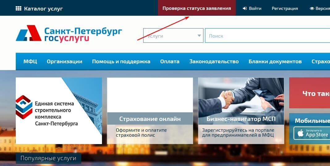 Проверка статуса обращения в МФЦ Санкт-Петербурга